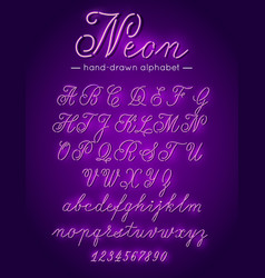 purple neon handwritten font alphabet letters and vector image