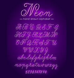 purple neon handwritten font alphabet letters vector image