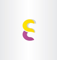 purple yellow letter e logotype logo symbol vector image