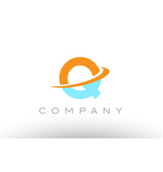 Q orange blue logo icon alphabet design vector