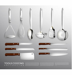 realistic kitchen equipment collection vector image