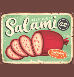 salami vintage poster with green background vector image