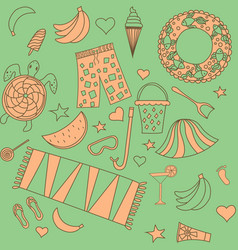 Seamless pattern with beach vector
