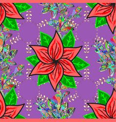 seamless pattern with violet green and pink tulip vector image