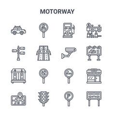Set 16 motorway concept line icons 64x64 thin vector