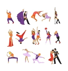 set of dancing people Dance design vector image