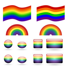 Set of gay pride symbols vector