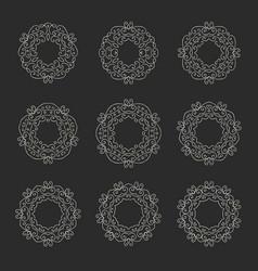 set of nine elegant hand drawn retro floral frame vector image