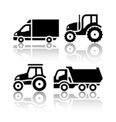 Set of transport icons - Tractor and Tipper vector