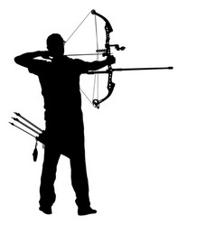 Silhouette attractive male archer bending a bow vector