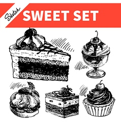 Sketch sweet set vector image