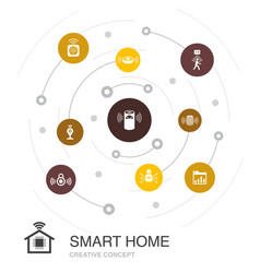 Smart home colored circle concept with simple vector