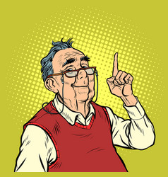 smile elderly man with glasses attention gesture vector image