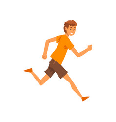 Smiling man in casual clothes running vector
