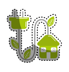 sticker green house with reduce power cable icon vector image