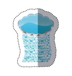 Sticker realistic 3d shape cloud storage with rain vector