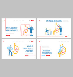 Stomach abdominal pain landing page template set vector