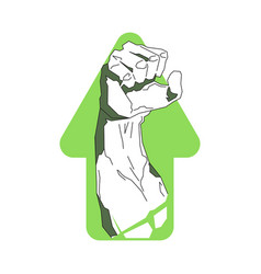 strong hand on arrow background fitness center or vector image