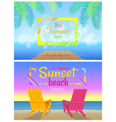 Sunbed on beach pair of chaise-lounges coastline vector