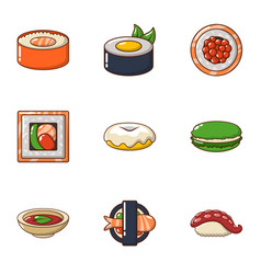 sushi icons set cartoon style vector image