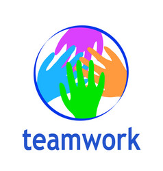 teamwork logo abstract two hands helping circle vector image