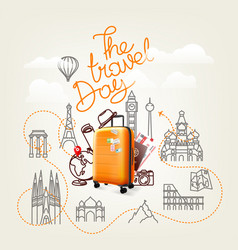 The travel day world travel color vector