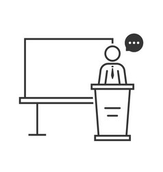 thin line spokesperson with black board vector image