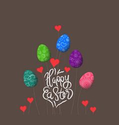 trees growing easter eggs background vector image