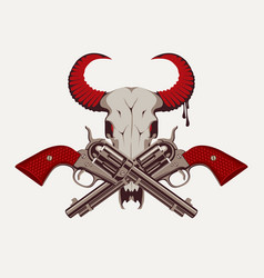 Two old crossed revolvers and skull bull vector