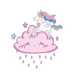 unicorn on clouds cute cartoons vector image