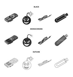 video card virus flash drive cable personal vector image
