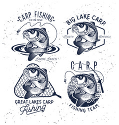 vintage carp fishing emblems and labels vector image