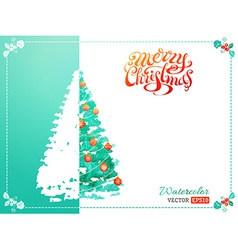 Watercolor Christmas tree background vector image