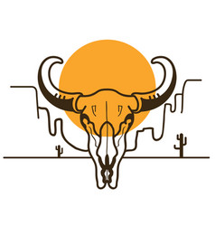 Wild west with bull skull on american desert and vector