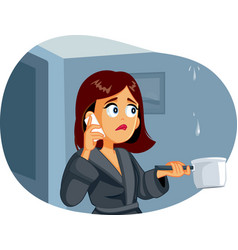 Woman calling plumber while ceiling vector