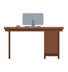 Wooden desk with computer workspace office vector