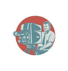 Cameraman Filming With Vintage TV Camera vector image vector image