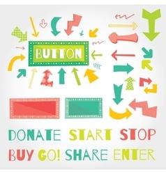 Donate button arrows ans words set White vector image vector image