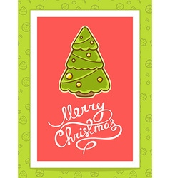 green christmas tree with white hand writ vector image vector image