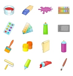 Painter tools icons set cartoon style vector