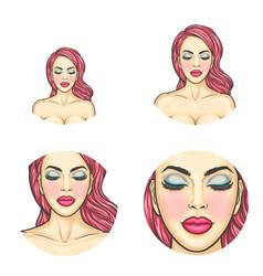 pop art avatar icon - sexy woman s face vector image