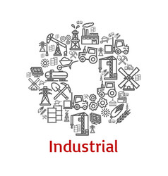 poster of industrial farm agriculture icons vector image