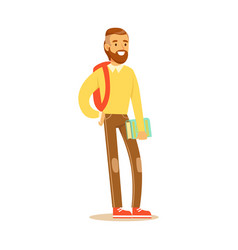 young bearded man in casual clothes with backpack vector image
