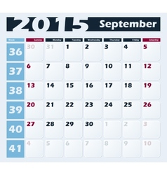 Calendar 2015 September design template vector image vector image