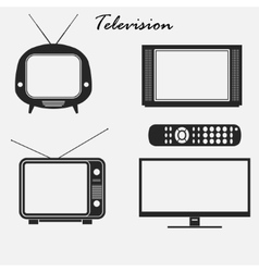 Television icons set vector image
