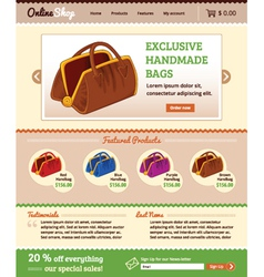 Template for retail shop website vector image
