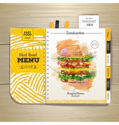 Vintage watercolor fast food menu Sandwich sketch vector image