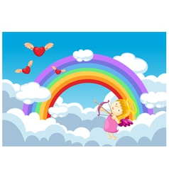 Cupid in the clouds background vector image