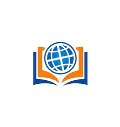 open book globe education school logo vector image vector image