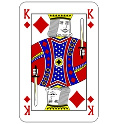 Poker playing card King diamond vector image
